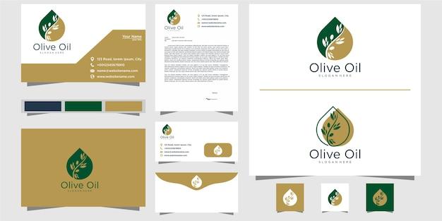 オリーブオイルのロゴのテンプレートと名刺