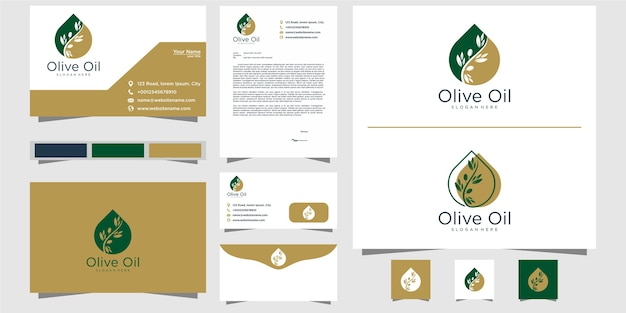 Olive oil logo template and business card