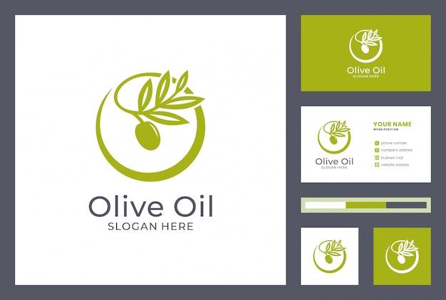 名刺デザインのオリーブオイルのロゴ