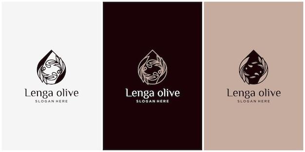 잎과 물 개념이 있는 올리브 오일 로고, 유기농 제품. 잎과 핵과 로고가 있는 벡터 올리브 가지입니다. 현대 올리브 오일 로고