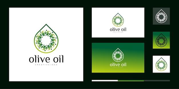 Логотип оливкового масла с шаблоном дизайна листа и визитной карточкой