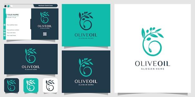 新しいコンセプトと名刺デザインテンプレート、ブランド、オイル、美容、緑、アイコン、健康とオリーブオイルのロゴ