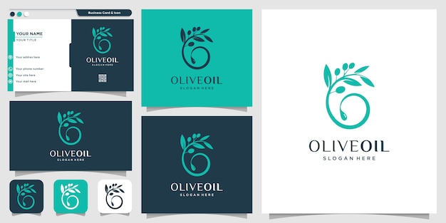 Olive oil logo with new concept and business card design template, brand, oil, beauty, green, icon, health