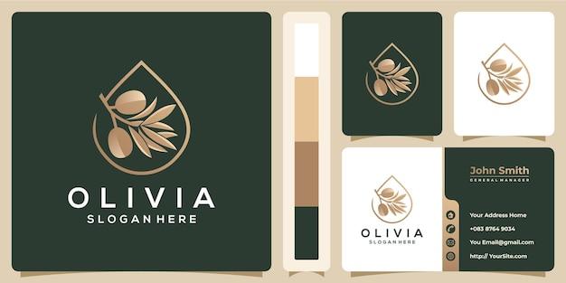 Роскошный логотип оливкового масла и концепция визитной карточки