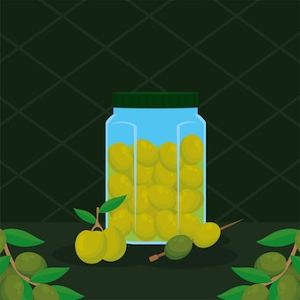 Банка масона оливкового масла и семена