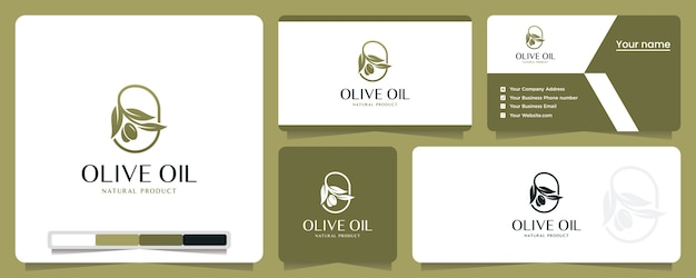 オリーブオイル、自然、健康、ロゴデザインのインスピレーション