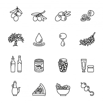 Olive oil, olive branch  icon set with white background.