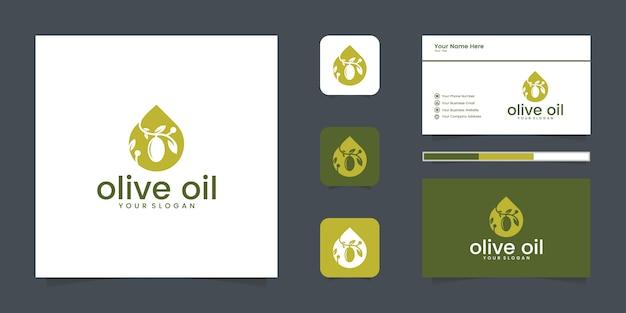 올리브 오일 또는 부정적인 공간 로고 디자인 개념 방울. 로고 디자인 및 명함