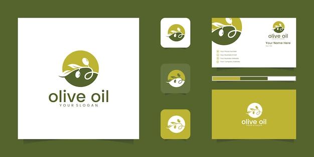 부정적인 공간 로고 디자인 컨셉으로 올리브 오일 또는 물방울. 로고 디자인 및 명함