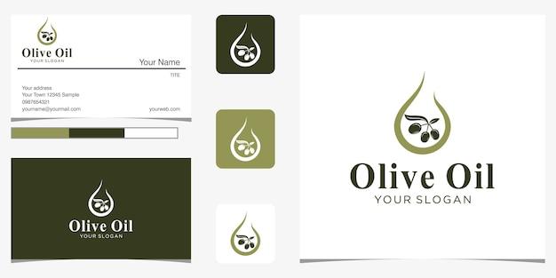 ネガティブスペースのロゴデザインコンセプトと名刺とオリーブオイルまたはドロップ