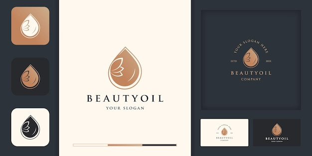 美容、化粧品、ヨガ、スパのためのオリーブオイルまたはウォータードロップの贅沢。 Premiumベクター