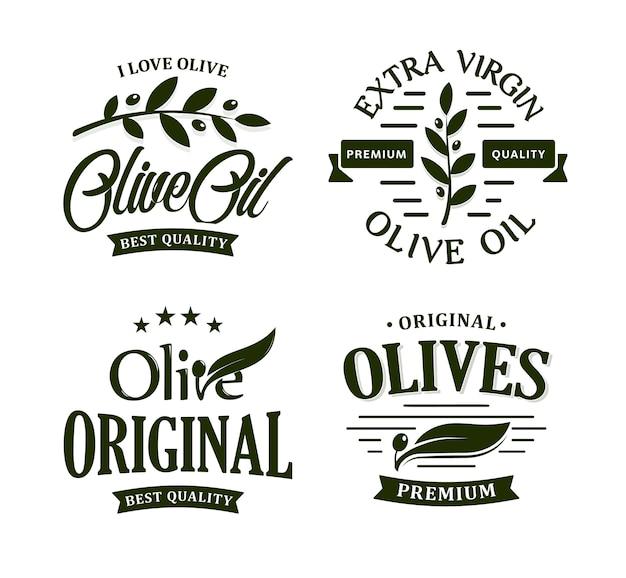 Olive oil premium quality. olives branch vintage label collection. extra virgin emblem set.