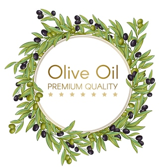 Olive oil round wreath for label