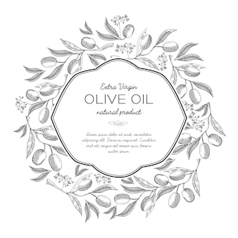 Olive oil round wreath sketch composition with beautiful sprouts and inscription