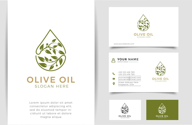 Olive oil silhouette logo and business card