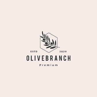 Olive oil tree branch logo hipster vintage retro