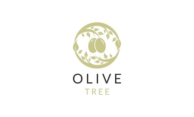 올리브 오일 나무 로고 디자인 벡터
