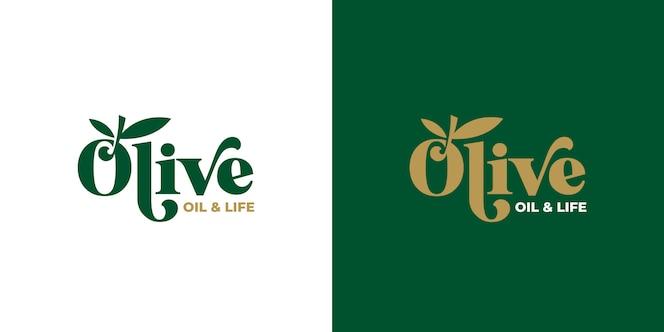 올리브 오일 타이포그래피 로고 디자인