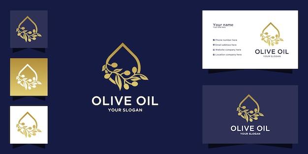 高級ゴールドカラーのオリーブオイルウォータードロップロゴ