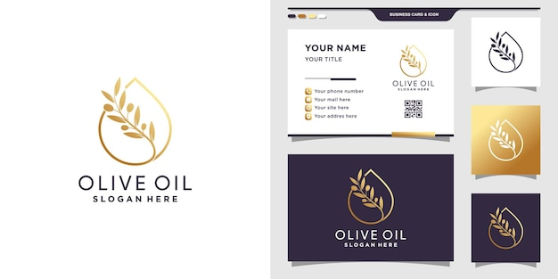 Olive oil and water drop logo with line art style and business card design premium vector
