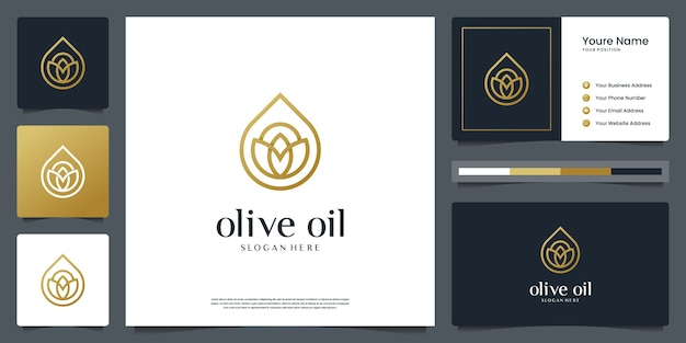 Olive oil or water drop luxury for beauty, cosmetics, yoga and spa. logo and business card