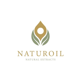 Оливковое масло с дизайном логотипа в виде капель и листьев
