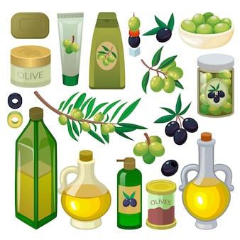 バージンオイルとオリーブブランチまたはオリーブの製品が白い背景で隔離のベジタリアンフードイラストセットの天然のオリーブ油成分とオリーブオリーブオイルボトル