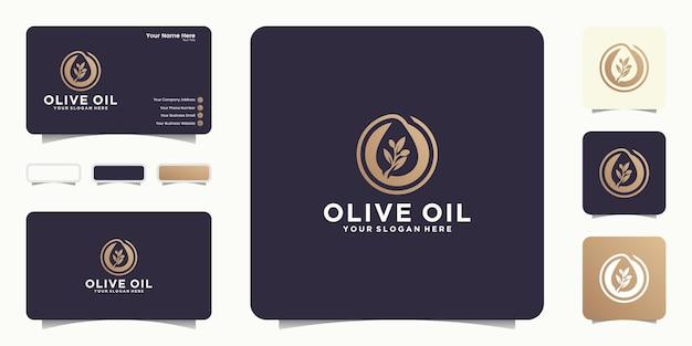 올리브 식물 로고 디자인 영감과 명함 영감