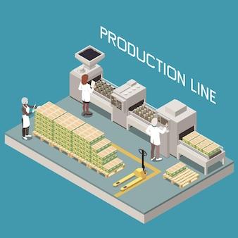 Composizione isometrica nella produzione di olive con linea di manifattura e personaggi di operatori umani prodotti pronti con testo