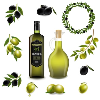 Olive set with wreath isolated