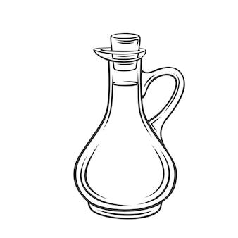 ガラス瓶のモノクロのオリーブ、ヒマワリのトウモロコシまたは大豆油