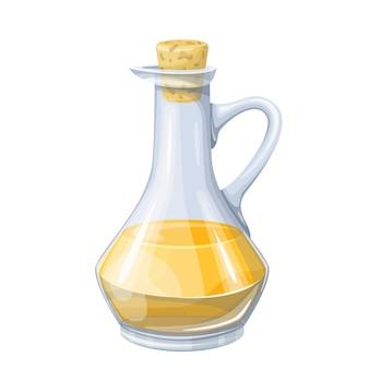 ガラス瓶に入ったオリーブ、ヒマワリのトウモロコシまたは大豆油