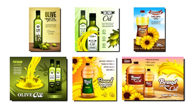 Olive and sunflower oil promo posters set