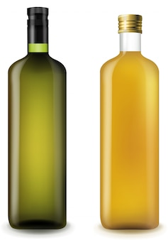 Olive and sunflower oilin glass bottle