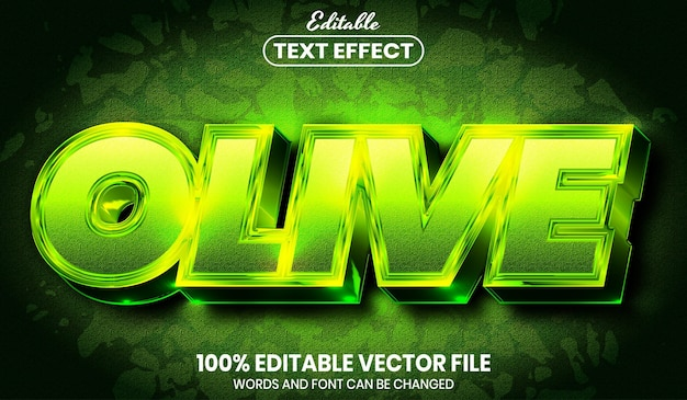Olive text, font style editable text effect
