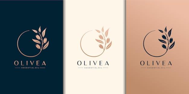 オリーブの木とエッセンシャルオイルのロゴのデザインテンプレート