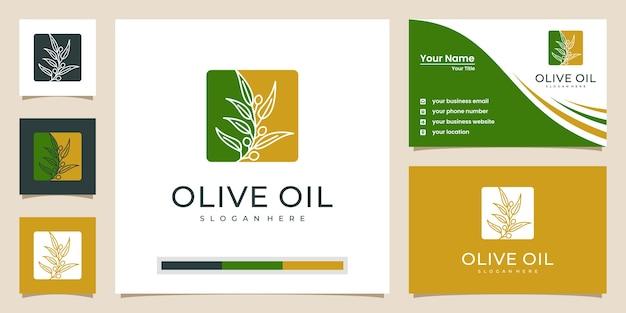 オリーブの木と油のロゴのデザインと名刺