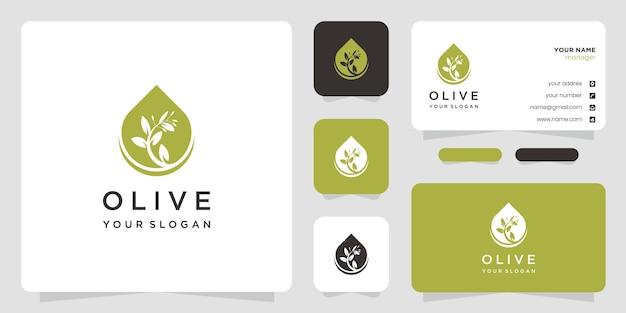 Дизайн логотипа оливкового дерева и масла и визитки