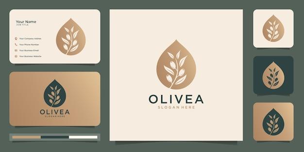 Шаблон дизайна логотипа оливкового дерева и масла и визитные карточки.