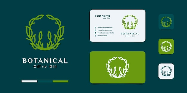 オリーブの木とオイルのロゴのデザインテンプレート。
