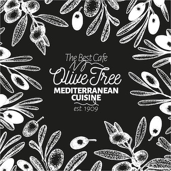 Olive tree banner template. vector retro illustration on chalk board.