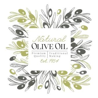 Olive tree banner template. vector retro illustration.