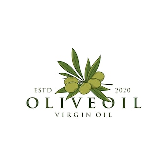 Olive tree branch logo template