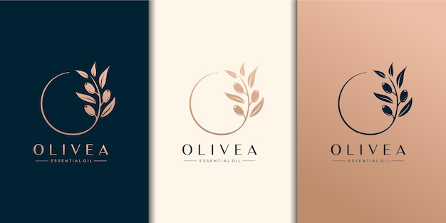 Olive tree and essential oil logo design template