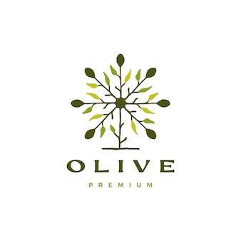 オリーブの木の葉のロゴのテンプレート