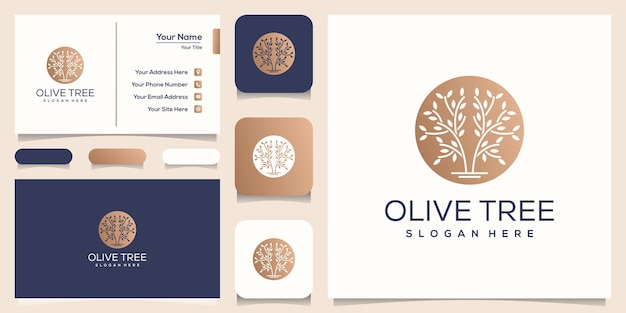 Olive tree logo design business card