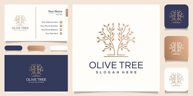Olive tree logo template business card