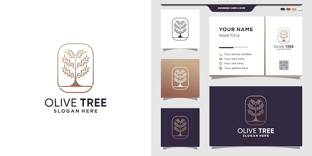 ラインアートスタイルと名刺とオリーブの木のロゴ