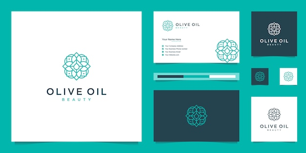 Olive tree and oil logo design and business cards premium