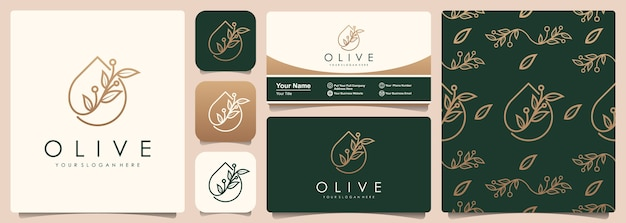 Olive tree and oil logo with set of pattern and business card template.